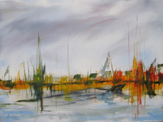 Marina, original oil painting by Ashley Baldwin-Smith